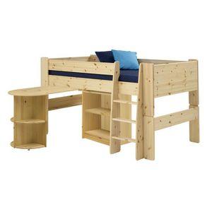 lit mi hauteur en pin naturel avec bureau et tag res. Black Bedroom Furniture Sets. Home Design Ideas