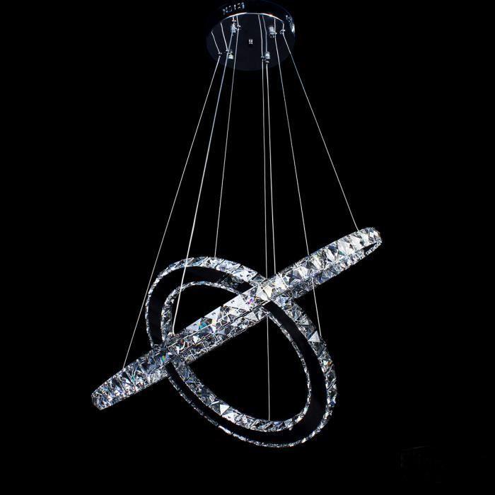 68w lustre 2 anneaux 60 40cm led cristal plafonnier pendentif lumi re blanc ac 95 265v achat. Black Bedroom Furniture Sets. Home Design Ideas