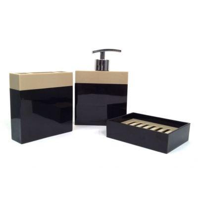 Pot de salle de bain design couleur noir achat vente - Accessoires salle de bain design noir ...