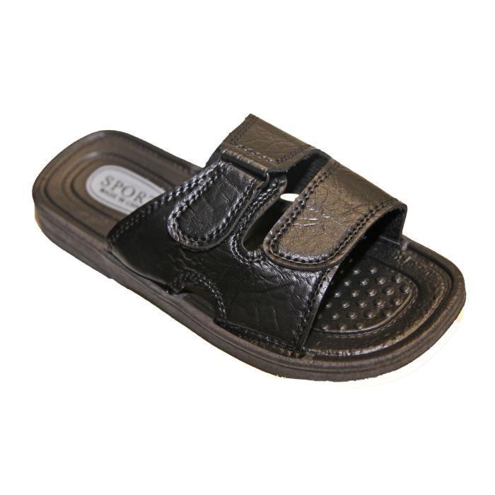 sandale sandalette tong mule claquette sport homme similicuir fermeture par velcro marron. Black Bedroom Furniture Sets. Home Design Ideas
