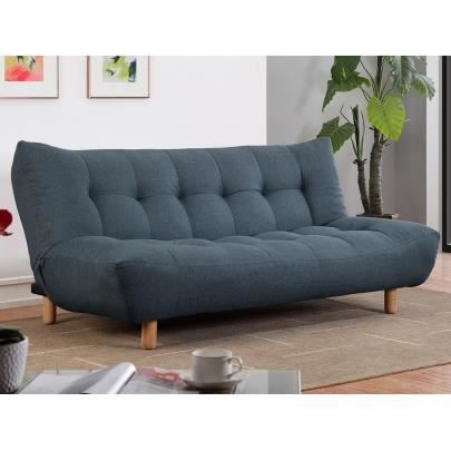 clic clac 3 places en tissu vincent bleu achat vente canap sofa divan cdiscount. Black Bedroom Furniture Sets. Home Design Ideas