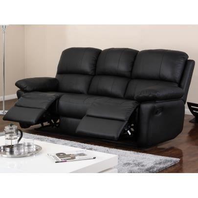 Canap 3 places relax en cuir milagro noir achat - Canape 4 places soldes ...