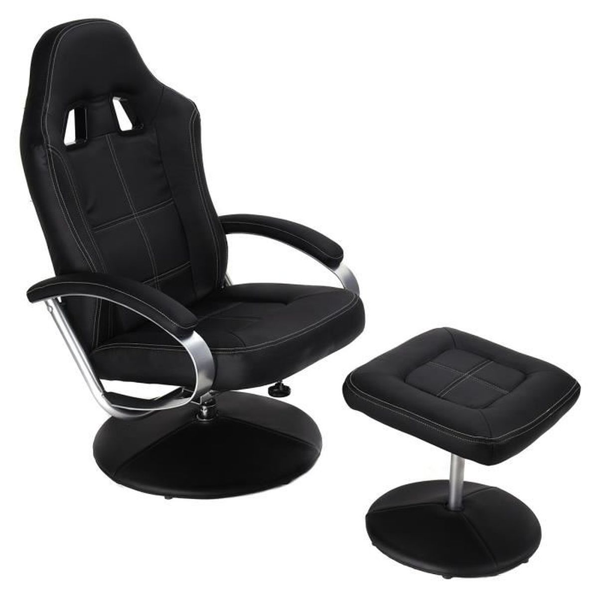 Fauteuil relax tv avec pouf tabouret inclinable racing relaxation chaise r gl - Fauteuil relax avec pouf ...