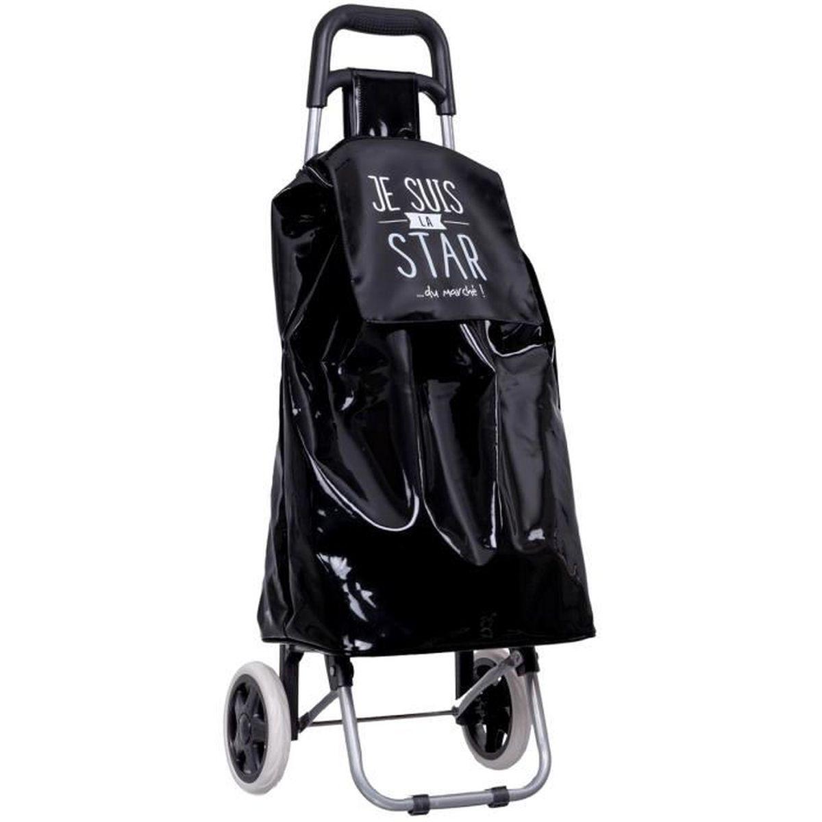 chariot de courses shopping a roulettes collection fun je suis la star noir achat vente sac. Black Bedroom Furniture Sets. Home Design Ideas