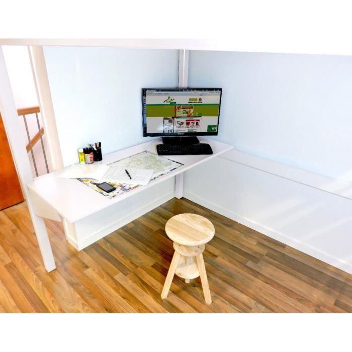 bureau tablette teint blanc longueur 200 achat. Black Bedroom Furniture Sets. Home Design Ideas