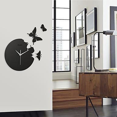 Horloge murale 3d crystal noir papillon achat vente for Decoration murale papillon 3d noir
