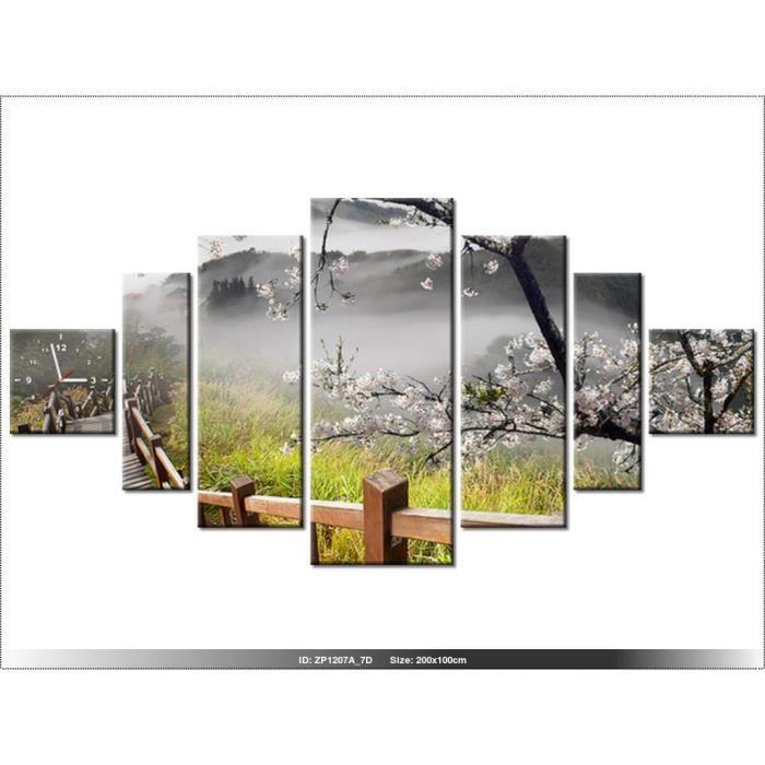 200 x 100 cm paysage japon horloge murale tableau moderne deco new design achat. Black Bedroom Furniture Sets. Home Design Ideas