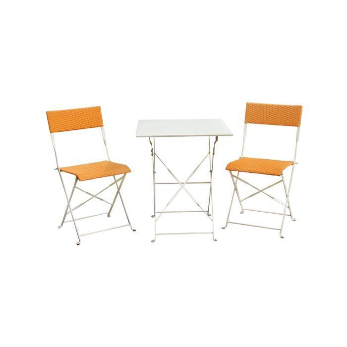 Salon de jardin r sine tress table pliable orange achat for Salon de jardin pliable