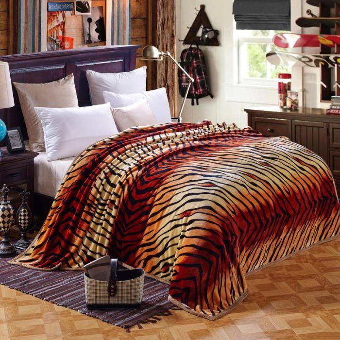 Couvre lit plaid en polaire velvet couverture extra large - Tigre polaire ...