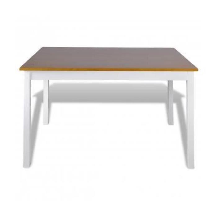 1 ensemble table en bois 4 chaises couleur marron for Table a manger 4 chaises