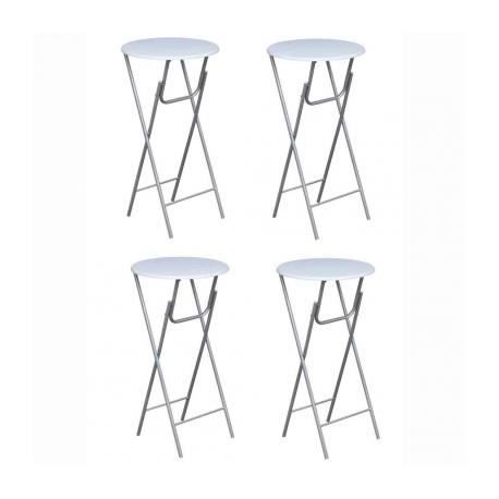 table de bistro ronde haute blanche pliable lot de 4. Black Bedroom Furniture Sets. Home Design Ideas