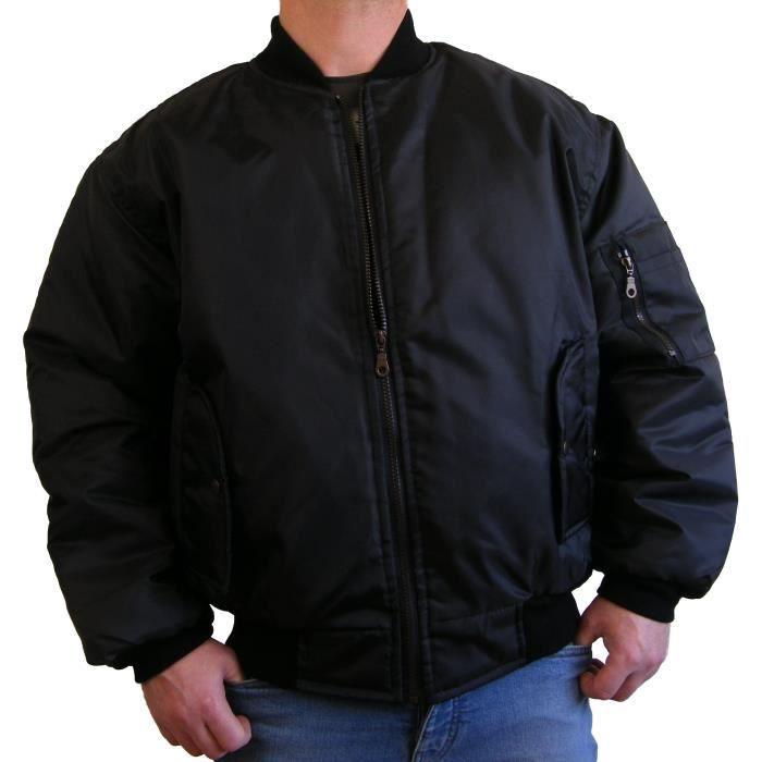 blouson de pilote aviateur bomber ma1 homme noir achat vente blouson blouson de pilote. Black Bedroom Furniture Sets. Home Design Ideas