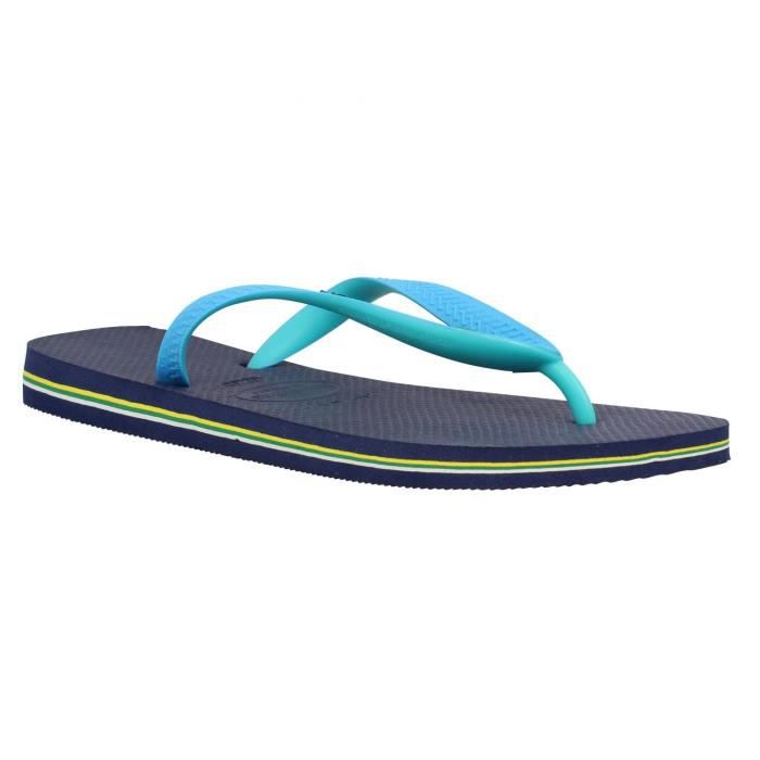 tongs homme havaianas brasil mix caoutchouc homme navy turquoise achat vente tong cdiscount. Black Bedroom Furniture Sets. Home Design Ideas