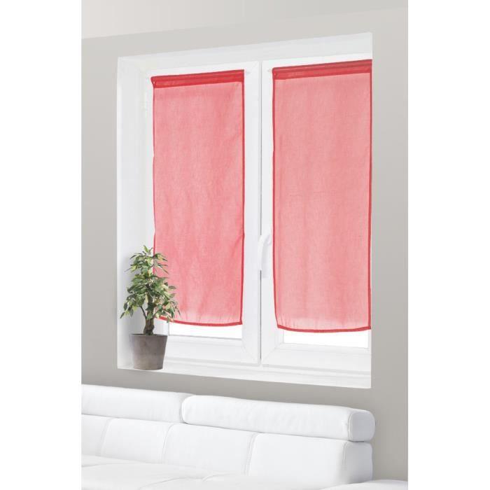 paire de voilage vitrage effet lin 60x120 cm rouge ce petit voilage vitrage au tissu effet lin. Black Bedroom Furniture Sets. Home Design Ideas