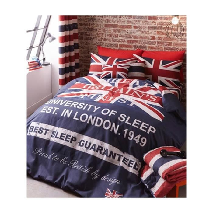housse de couette union jack 2 personnes achat vente housse de couette cdiscount. Black Bedroom Furniture Sets. Home Design Ideas