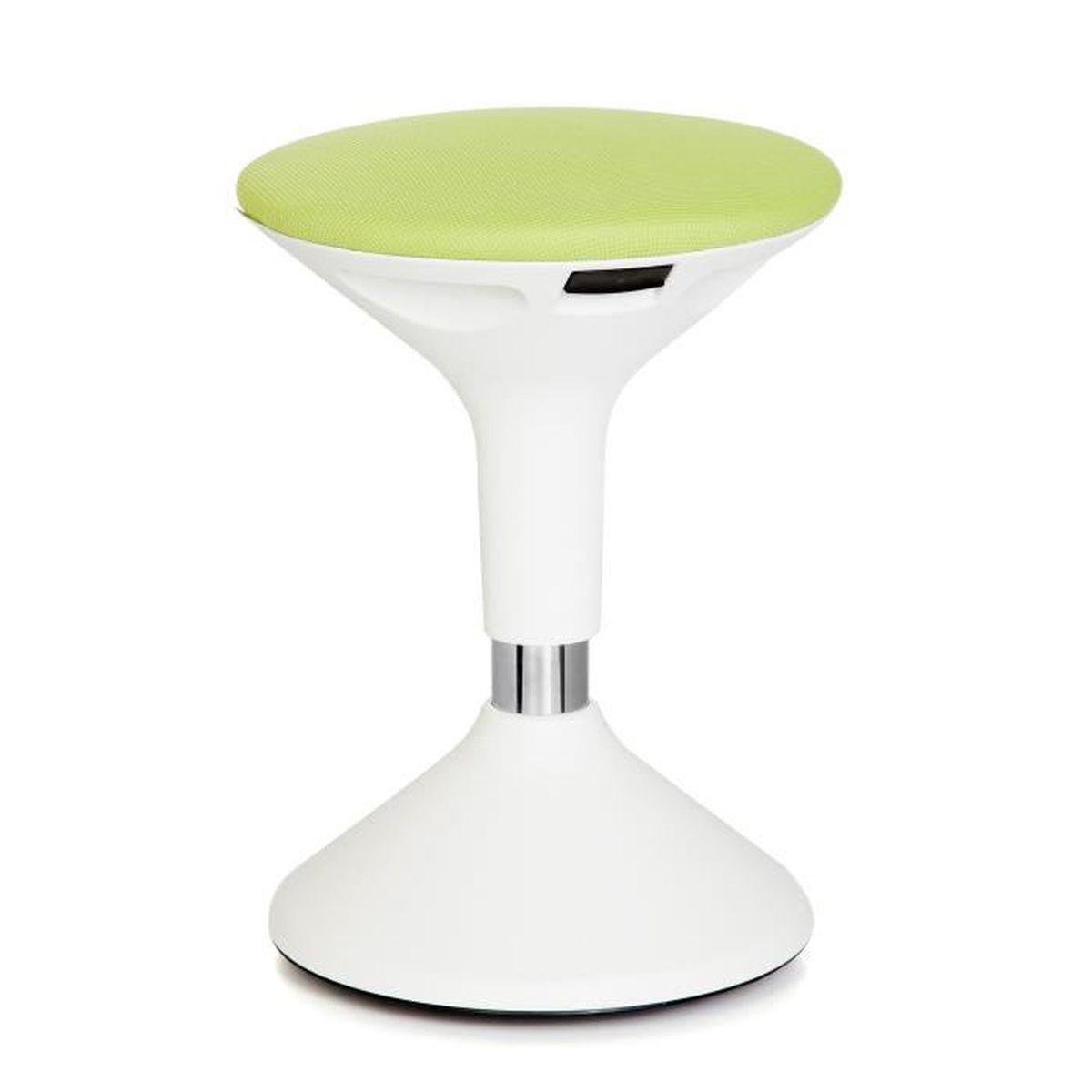 tabouret tabouret de travail sammy r glable en hauteur plastique blanc vert hjh office. Black Bedroom Furniture Sets. Home Design Ideas