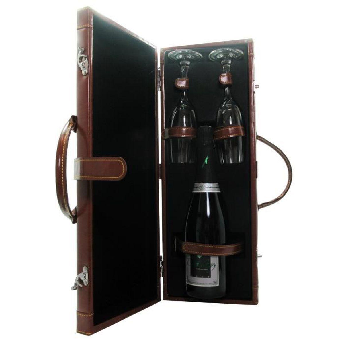 COFFRET CADEAU VIN Coffret valisette Champagne avec 2 flûtes