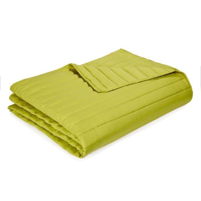 lulli couvre lit vert anis surpiqu 180x250cm vert anis achat vente jet e de lit boutis. Black Bedroom Furniture Sets. Home Design Ideas