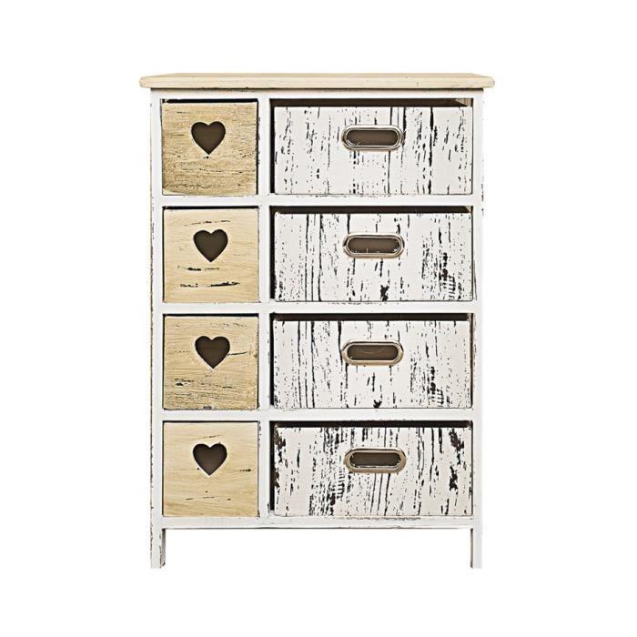 Commode meuble de rangement 8 tiroirs paris bois blanc for Meuble rangement commode