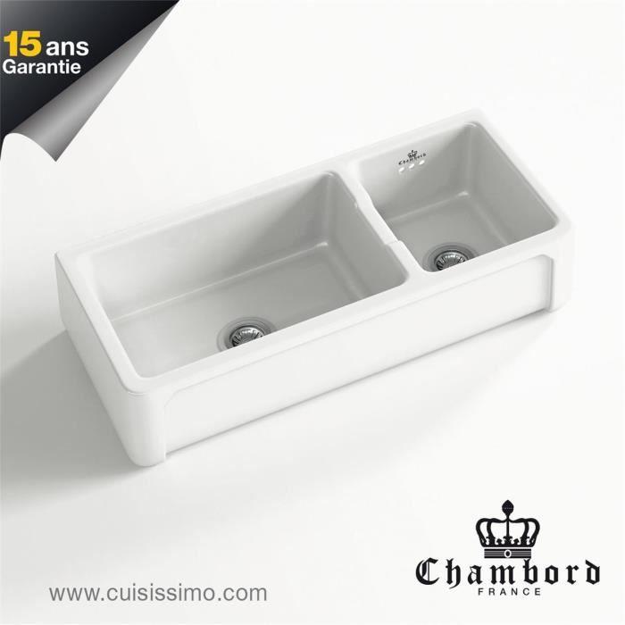 vier c ramique poser kate 1 bac 1 2 blanc 9 achat vente evier de cuisine vier. Black Bedroom Furniture Sets. Home Design Ideas