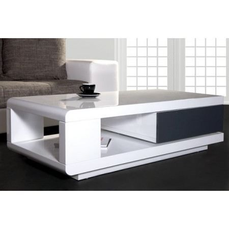Table basse design taylor ii blanc anthracite achat for Table haute blanc laque