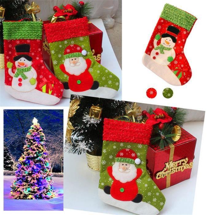 Santa chaussettes de no l sac cadeau d coration de no l for Achat decoration de noel