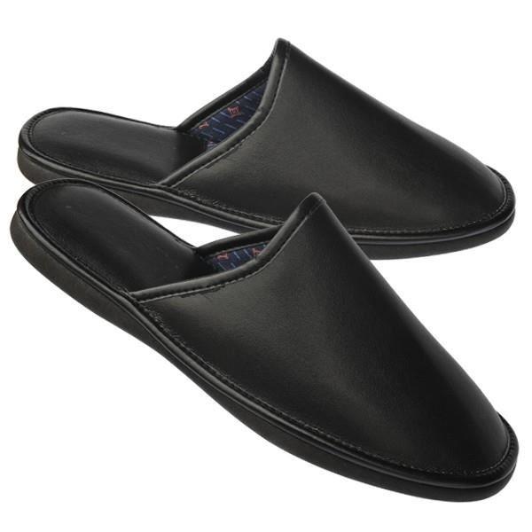 pantoufles cuir homme noir achat vente chausson pantoufle cdiscount. Black Bedroom Furniture Sets. Home Design Ideas