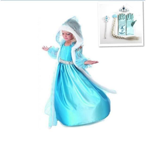 kit d guisement robe reine des neiges robe cape manchons 4 accessoires hiver achat. Black Bedroom Furniture Sets. Home Design Ideas