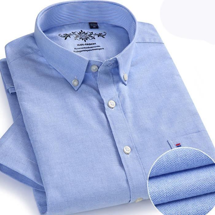 chemise tissu oxford manches courtes homme chemise uni sans repasser de ville homme avec. Black Bedroom Furniture Sets. Home Design Ideas