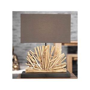 Lampe bois flott naturel brun arcachon achat vente for Lampe bois flotte maison