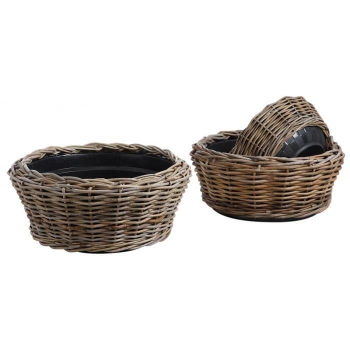 3 cache pot ronds en osier avec bac plastique achat vente jardini re pot fleur 3 cache pot. Black Bedroom Furniture Sets. Home Design Ideas