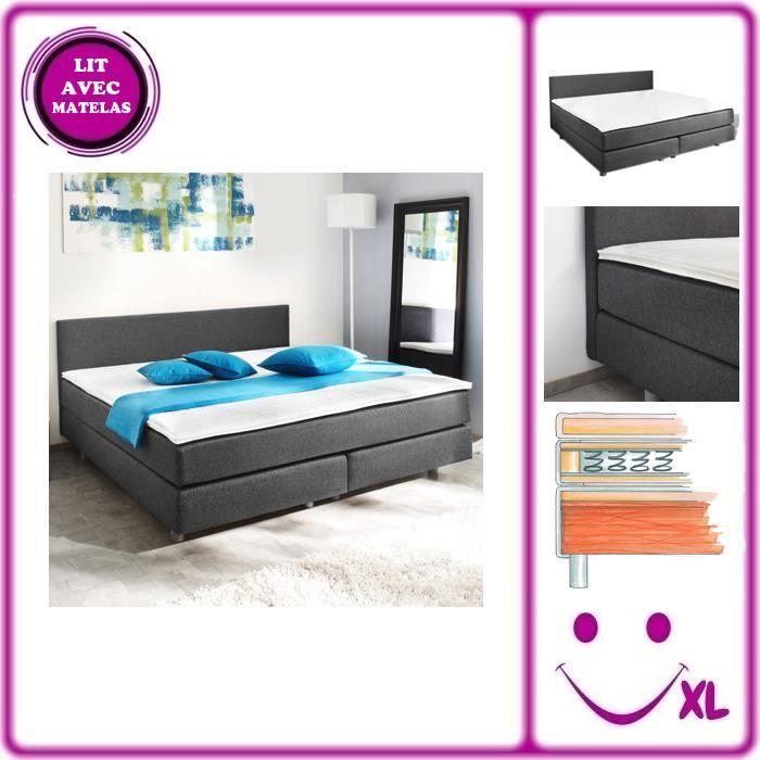 lit adulte avec matelas ressort 200 x 140 cm achat vente chambre compl te lit adulte avec. Black Bedroom Furniture Sets. Home Design Ideas