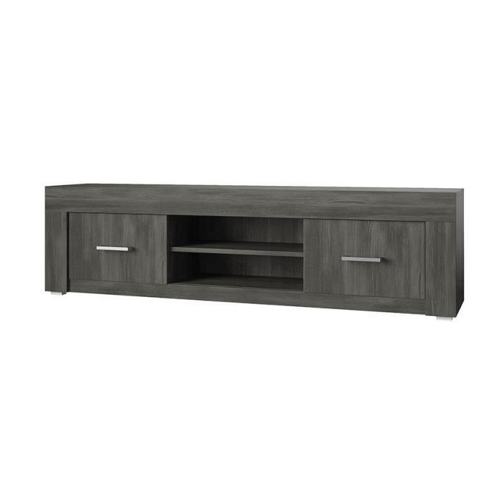 Meuble tv ch ne noir ally 190 cm achat vente meuble tv for Meuble tv verre et bois