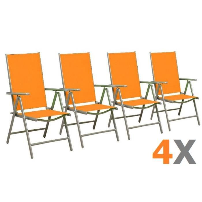 4 chaises pliante orange r glable en alu achat vente. Black Bedroom Furniture Sets. Home Design Ideas