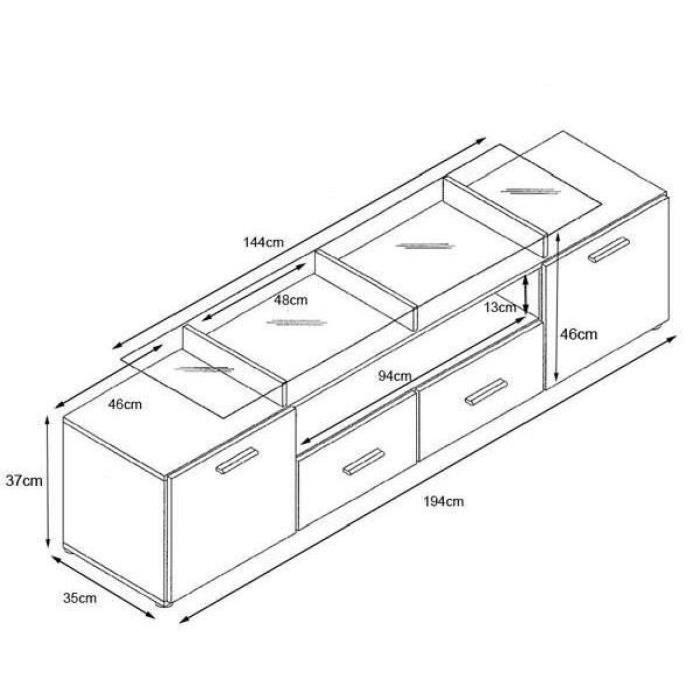 Meuble tv noir et bordeaux 194 cm achat vente meuble for Meuble bordeaux