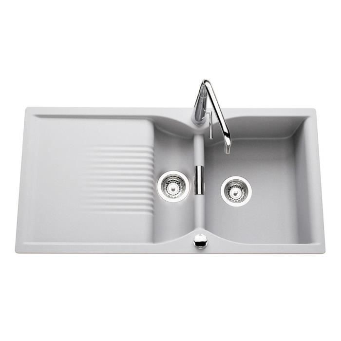 vier granit gris alu cisto 1 bac 1 2 1 gout achat vente vier vier granit gris alu. Black Bedroom Furniture Sets. Home Design Ideas