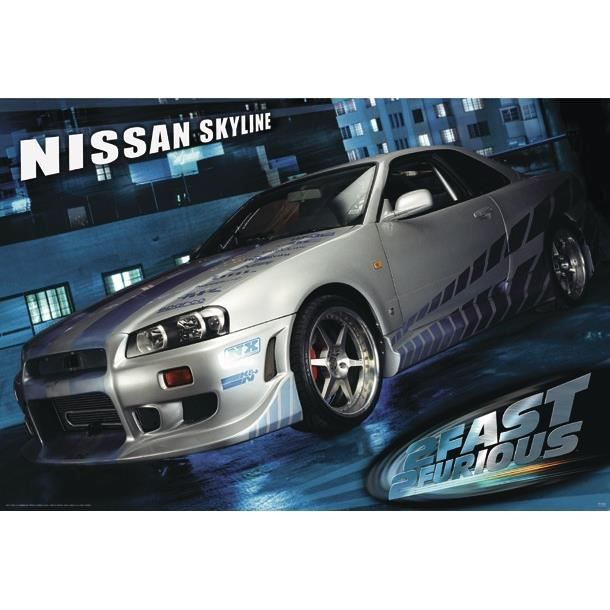 poster the fast and the furious 2 nissan skyline achat vente affiche cdiscount. Black Bedroom Furniture Sets. Home Design Ideas