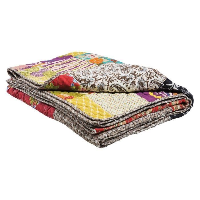 plaid patchwork en coton ottawa achat vente couverture. Black Bedroom Furniture Sets. Home Design Ideas