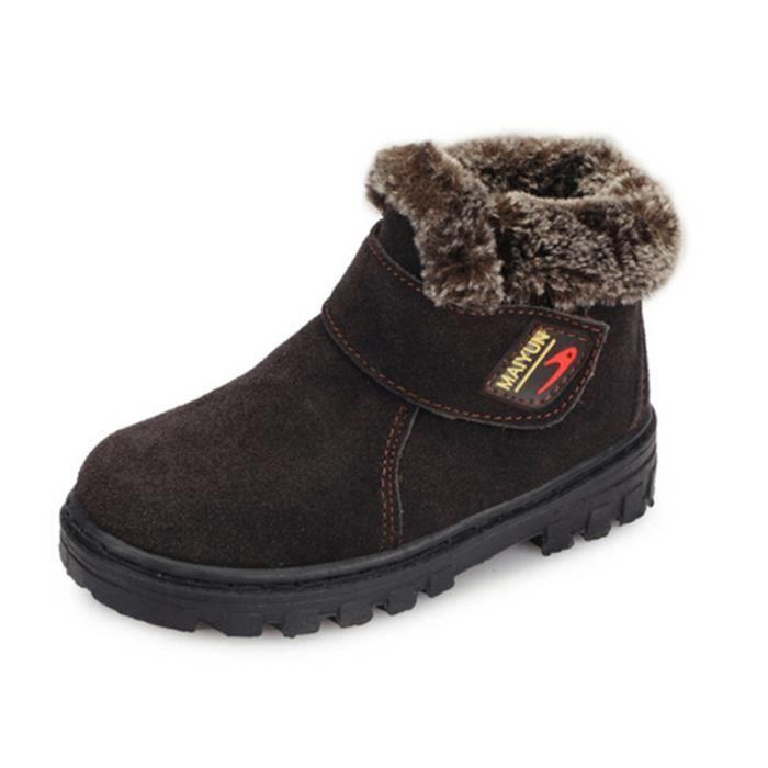 mixte enfants bottines hiver chaussures chaudes nubuck caf tu achat vente bottillon cdiscount. Black Bedroom Furniture Sets. Home Design Ideas