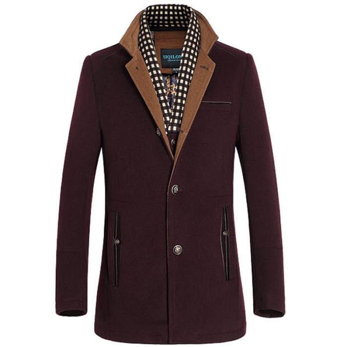 manteau en laine homme caban double col blouson vin rouge achat vente manteau caban. Black Bedroom Furniture Sets. Home Design Ideas
