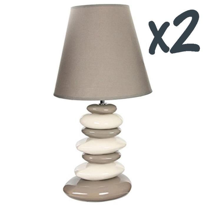 lot de 2 lampes galets c ramique en beige et blanc achat. Black Bedroom Furniture Sets. Home Design Ideas