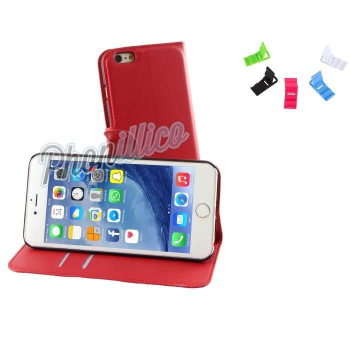 coque portefeuille iphone 6s plus rouge phonillico achat coque bumper pas cher avis et. Black Bedroom Furniture Sets. Home Design Ideas