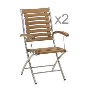 chaise de jardin en acacia et inox lot de 2 achat vente chaise fauteuil jardin On chaise de jardin inox