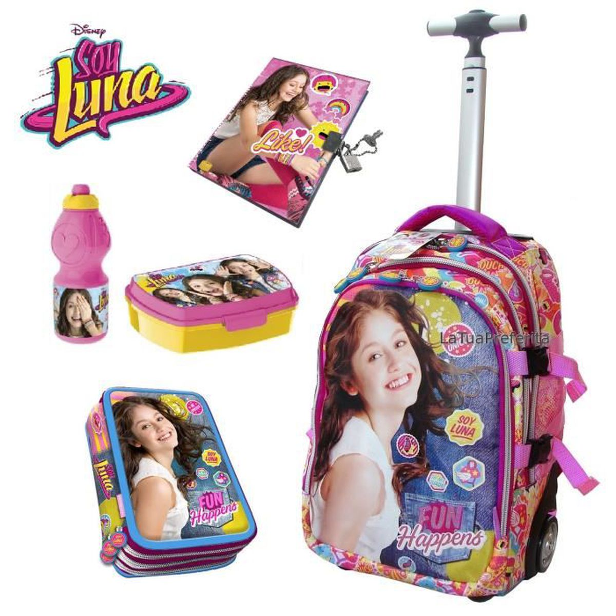 soy luna sac dos 45cm set 5 accessoires trolley chariot cole achat vente sac dos. Black Bedroom Furniture Sets. Home Design Ideas