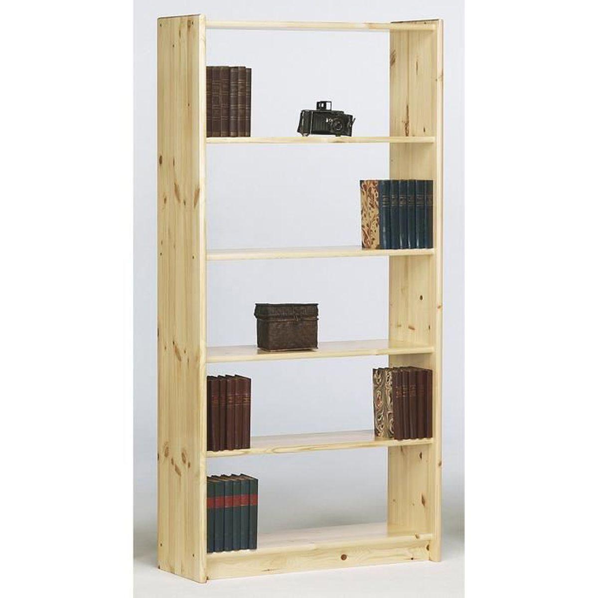 biblioth que avec 4 tag res en pin massif dim 170 x. Black Bedroom Furniture Sets. Home Design Ideas