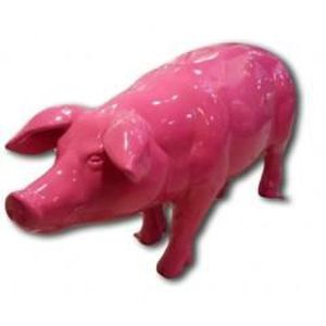 Statue d corative cochon rose grandeur nature achat for Statue en resine pour jardin