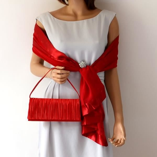 ensemble coordonn tole et pochette rouge achat vente echarpe foulard 3663228040431. Black Bedroom Furniture Sets. Home Design Ideas