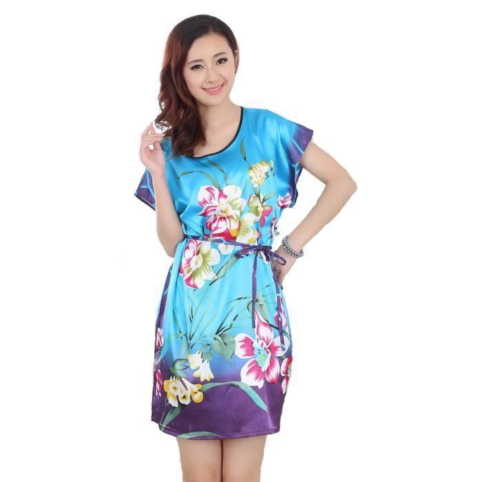 femmes pyjama courte robe de nuit robe de bain de chambre peignoir fleur bleu bleu bleu achat. Black Bedroom Furniture Sets. Home Design Ideas