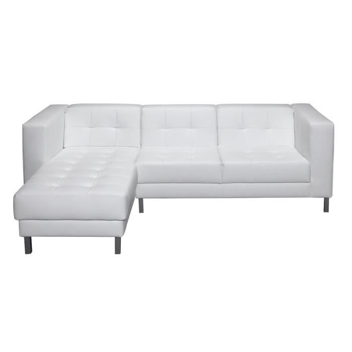 Canap d 39 angle gauche switsofa manfield blanc achat for Cdiscount canape d angle