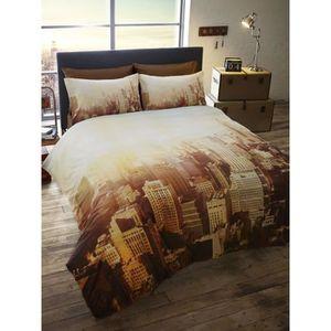 housse de couette new york coton 200x200 achat vente. Black Bedroom Furniture Sets. Home Design Ideas